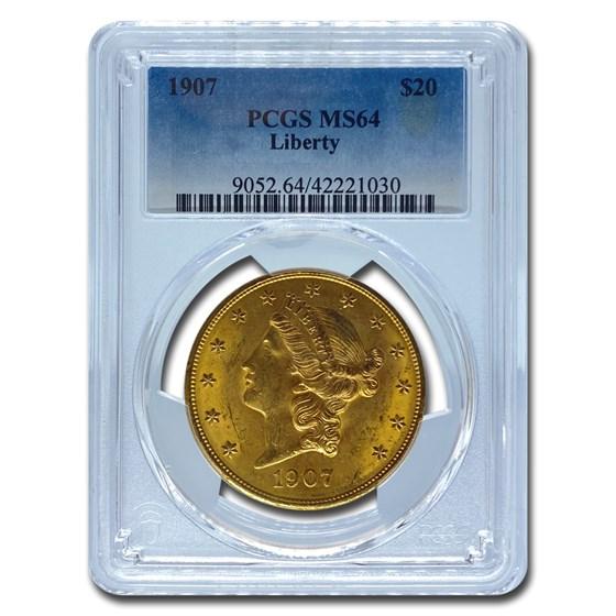 1907 $20 Liberty Gold Double Eagle MS-64 PCGS
