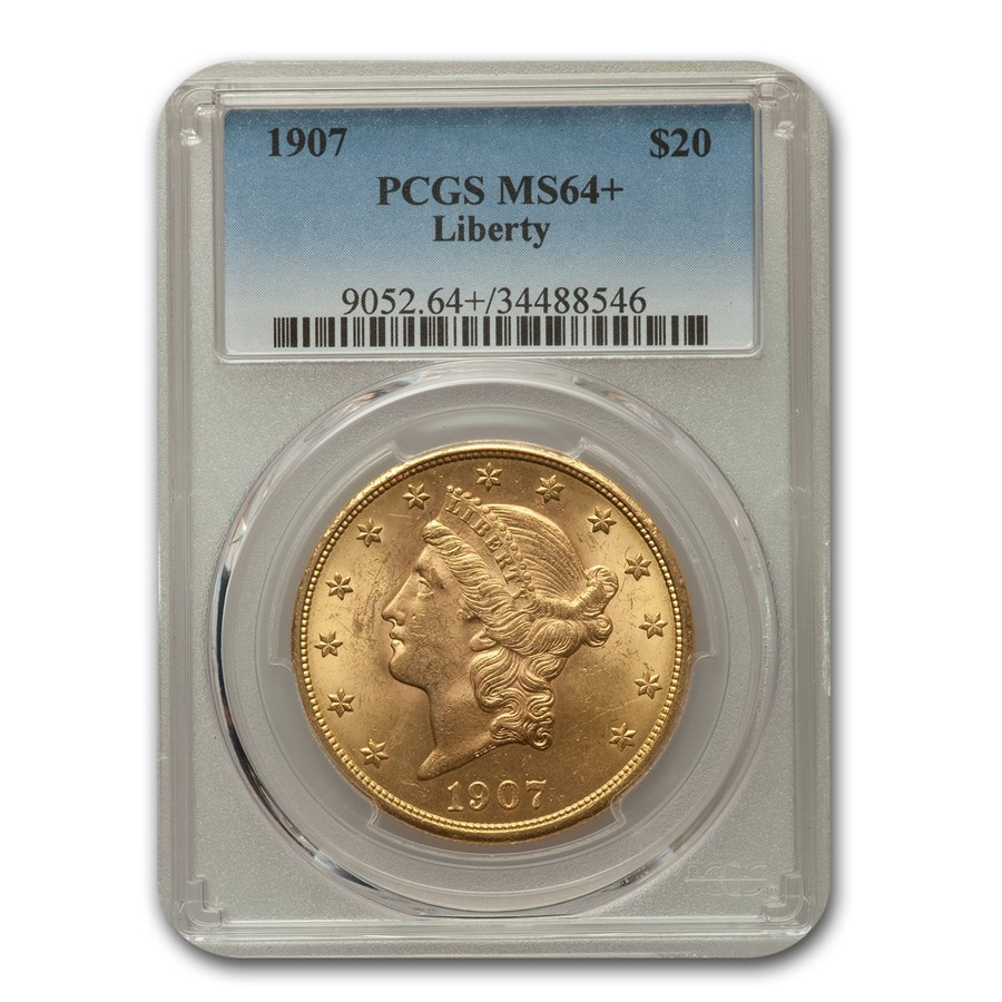1907 $20 Liberty Gold Double Eagle MS-64+ PCGS