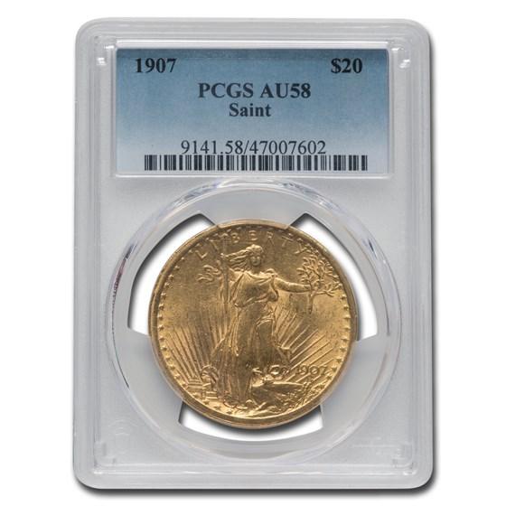 1907 $20 Saint-Gaudens Gold Double Eagle AU-58 PCGS
