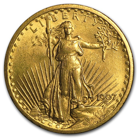 1907 $20 Saint-Gaudens Gold Double Eagle BU