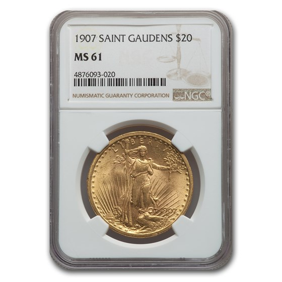 1907 $20 Saint-Gaudens Gold Double Eagle MS-61 NGC