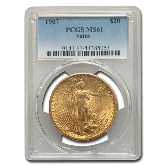 1907 $20 Saint-Gaudens Gold Double Eagle MS-61 PCGS