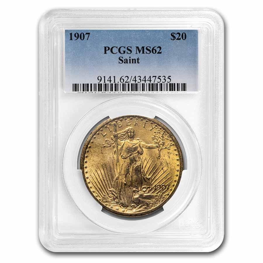 1907 $20 Saint-Gaudens Gold Double Eagle MS-62 PCGS