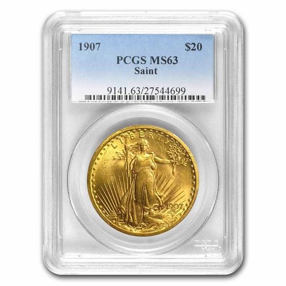 1907 $20 Saint-Gaudens Gold Double Eagle MS-63 PCGS