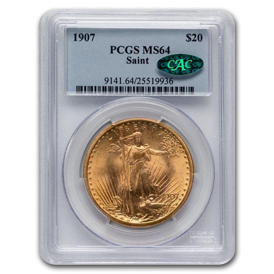 1907 $20 Saint-Gaudens Gold Double Eagle MS-64 PCGS CAC