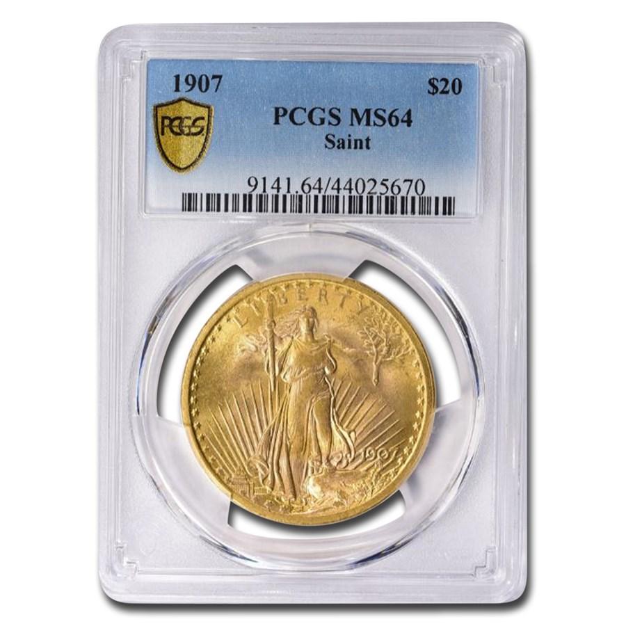 1907 $20 Saint-Gaudens Gold Double Eagle MS-64 PCGS