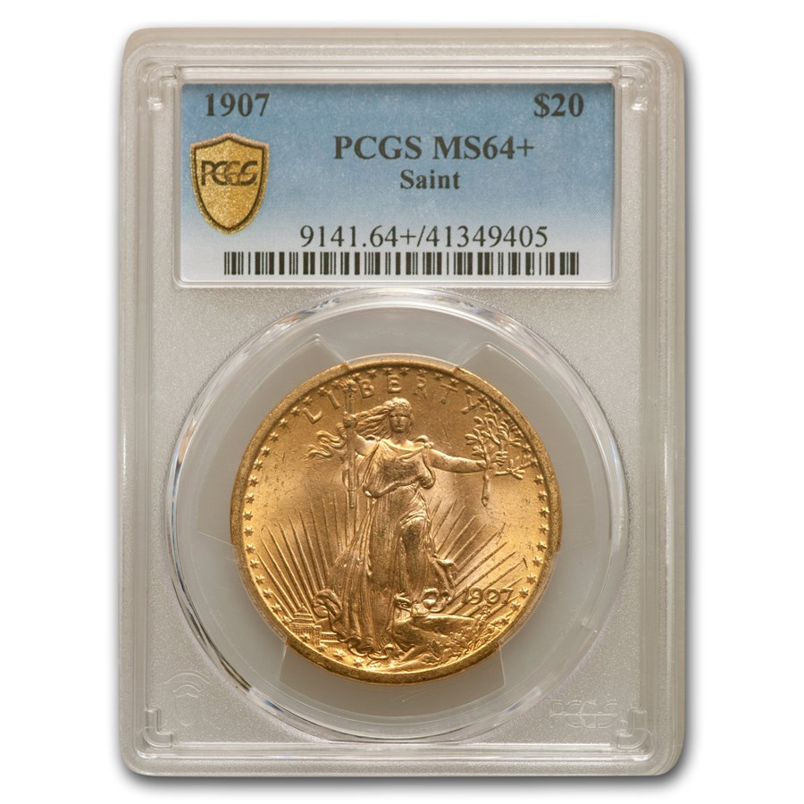 1907 $20 Saint-Gaudens Gold Double Eagle MS-64+ PCGS