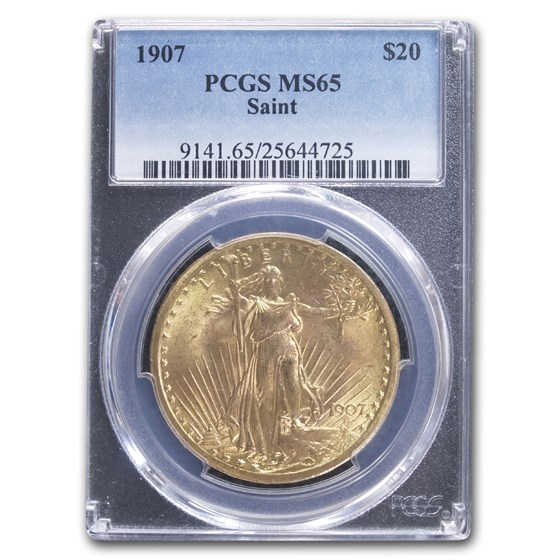 1907 $20 Saint-Gaudens Gold Double Eagle MS-65 PCGS