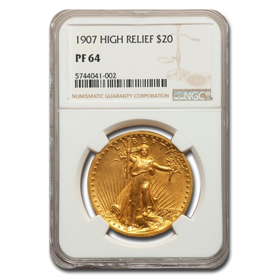 1907 $20 Saint-Gaudens Gold High Relief Double Eagle PF-64 NGC