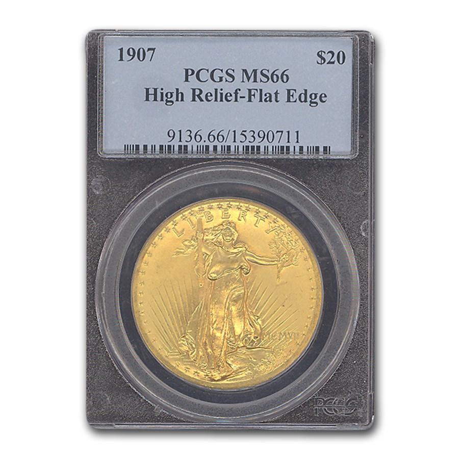 1907 $20 Saint-Gaudens Gold High Relief Flat Edge MS-66 PCGS