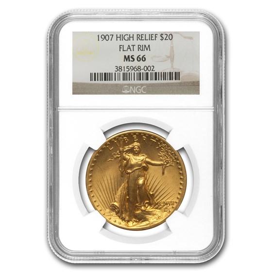 1907 $20 Saint-Gaudens Gold High Relief Flat Rim MS-66 NGC