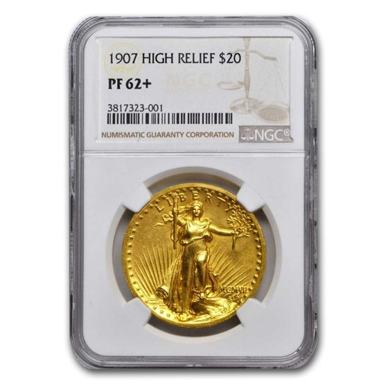 1907 $20 Saint-Gaudens Gold High Relief PF-62+ NGC