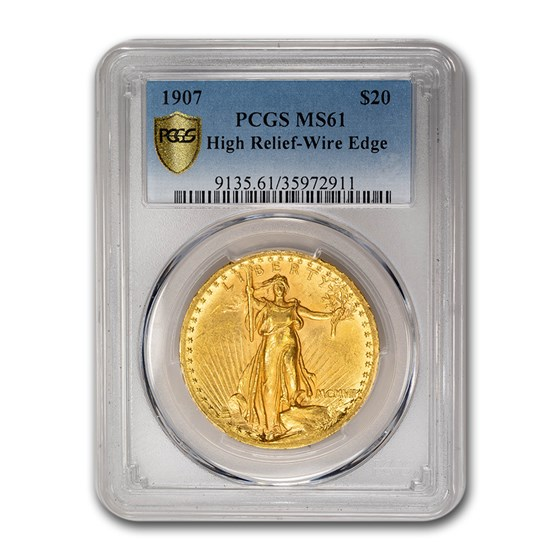 1907 $20 Saint-Gaudens Gold High Relief Wire Edge MS-61 PCGS