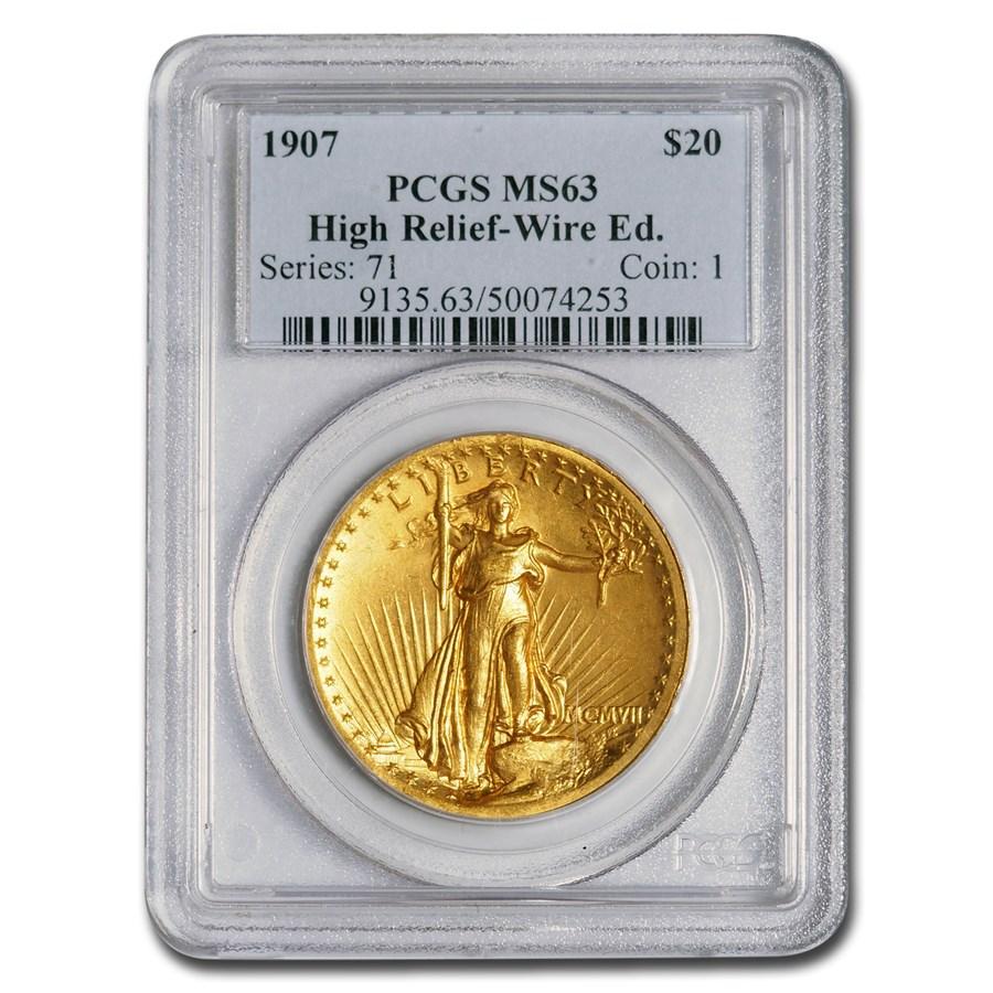 1907 $20 Saint-Gaudens Gold High Relief Wire Edge MS-63 PCGS