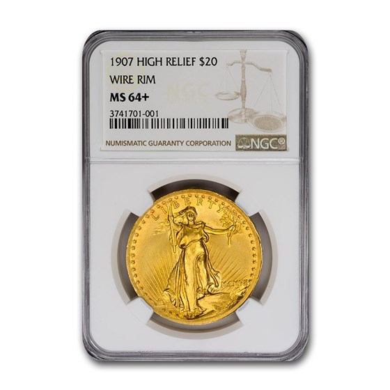 1907 $20 Saint-Gaudens Gold High Relief Wire Rim MS-64+ NGC