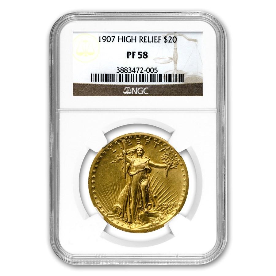 1907 $20 Saint-Gaudens Gold High Relief Wire Rim PF-58 NGC