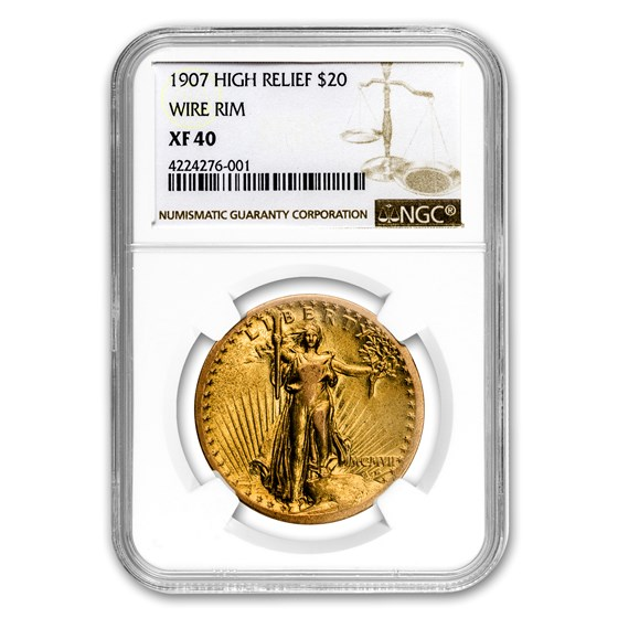 1907 $20 Saint-Gaudens Gold High Relief Wire Rim XF-40 NGC