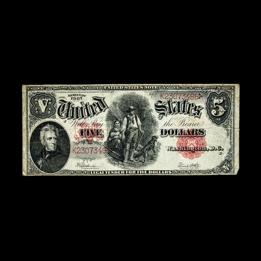 1907 $5.00 Legal Tender 'Woodchopper' Fine