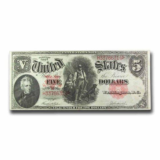 1907 $5.00 Legal Tender Woodchopper Note VF (Fr#88)