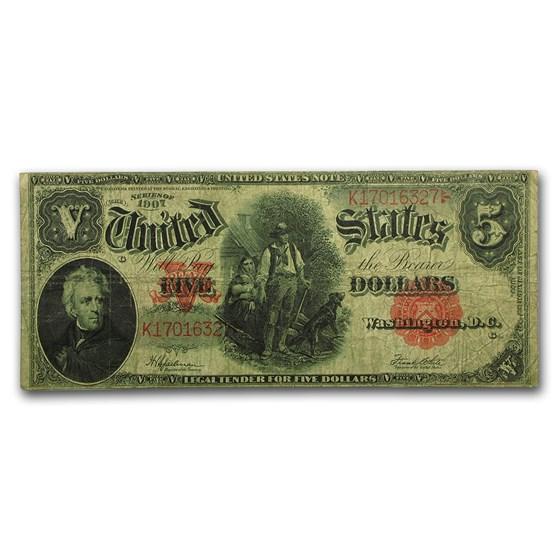 1907 $5.00 Legal Tender Woodchopper VF+ (Fr#91)