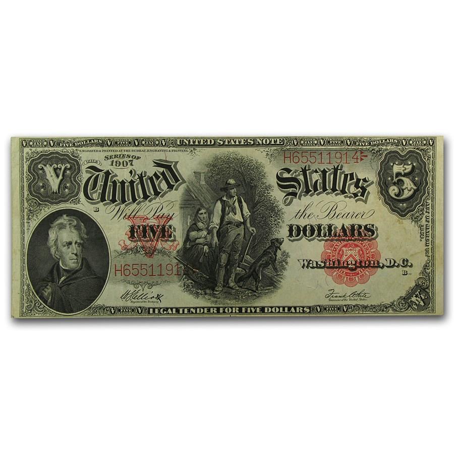 1907 $5.00 Legal Tender Woodchopper VF+ (SN#H65511914)