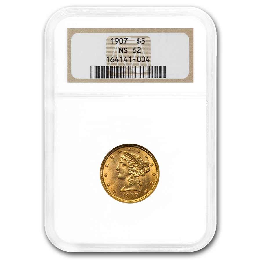 1907 $5 Liberty Gold Half Eagle MS-62 NGC