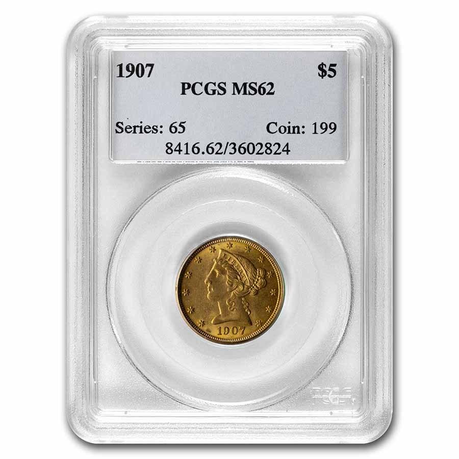 1907 $5 Liberty Gold Half Eagle MS-62 PCGS