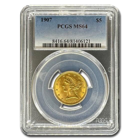 1907 $5 Liberty Gold Half Eagle MS-64 PCGS