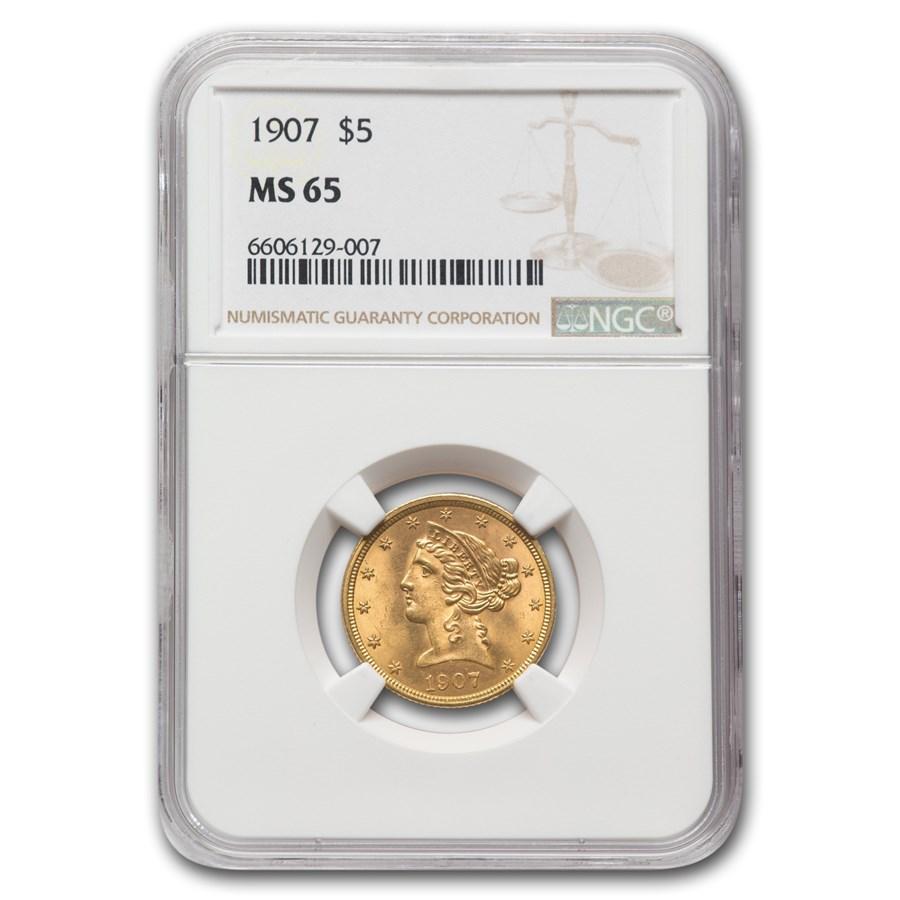 1907 $5 Liberty Gold Half Eagle MS-65 NGC
