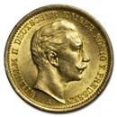 1907-A Germany Gold 20 Marks Prussia Wilhelm II BU