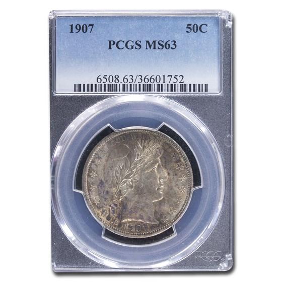 1907 Barber Half Dollar MS-63 PCGS