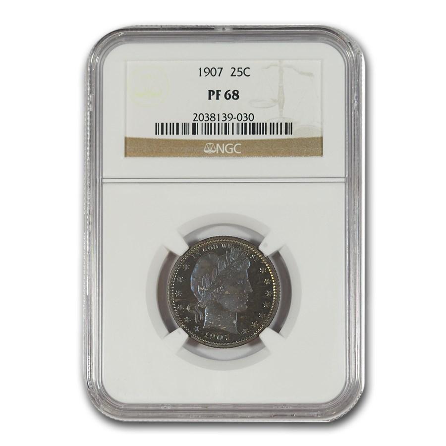 1907 Barber Quarter PF-68 NGC