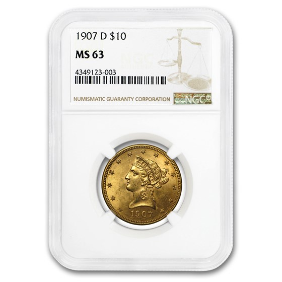 1907-D $10 Liberty Gold Eagle MS-63 NGC