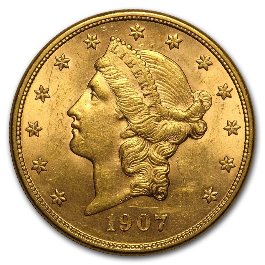 1907-D $20 Liberty Gold Double Eagle AU
