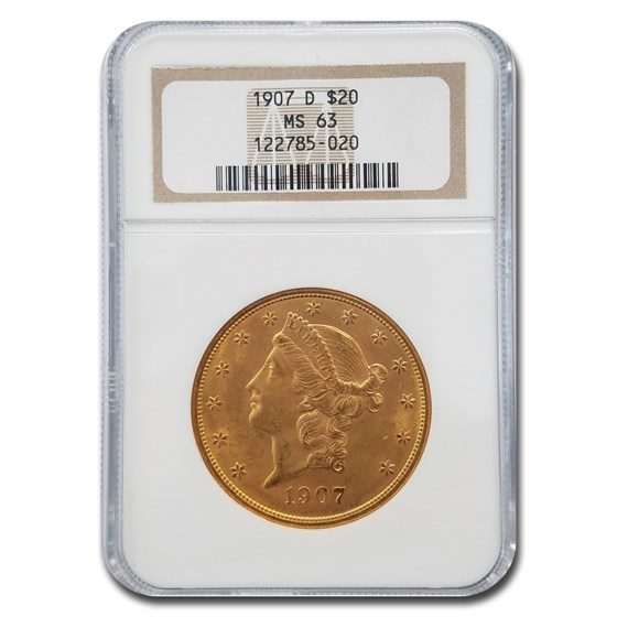 1907-D $20 Liberty Gold Double Eagle MS-63 NGC