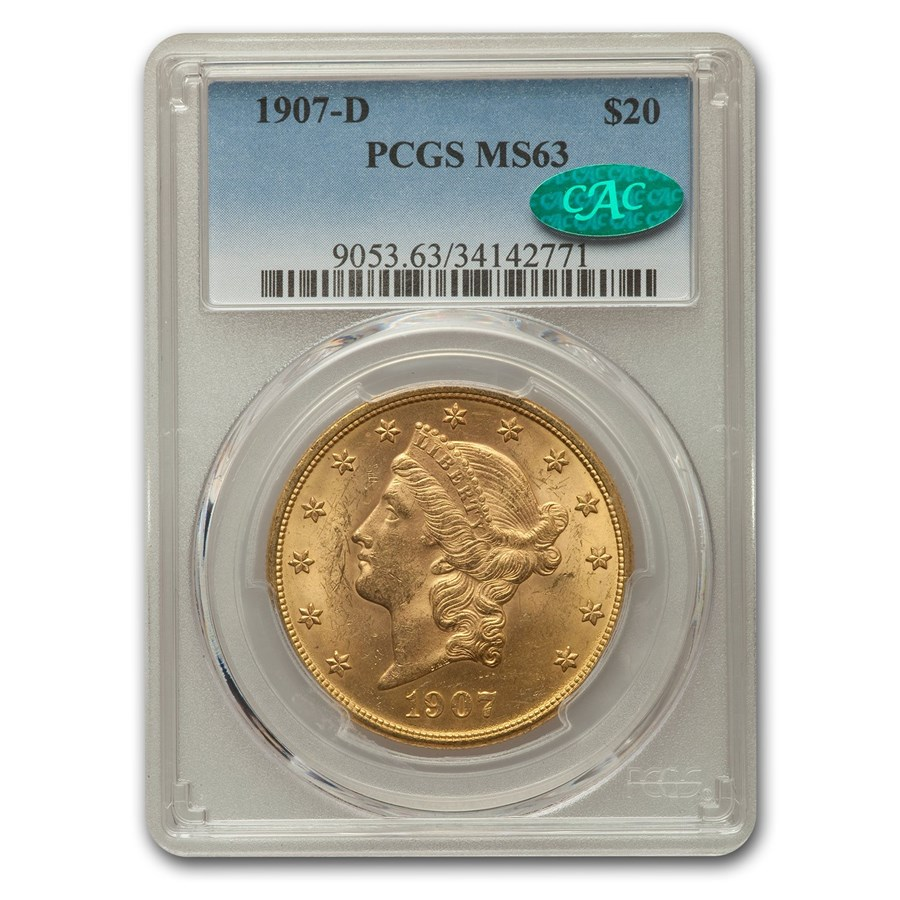 1907-D $20 Liberty Gold Double Eagle MS-63 PCGS CAC