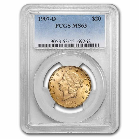 1907-D $20 Liberty Gold Double Eagle MS-63 PCGS