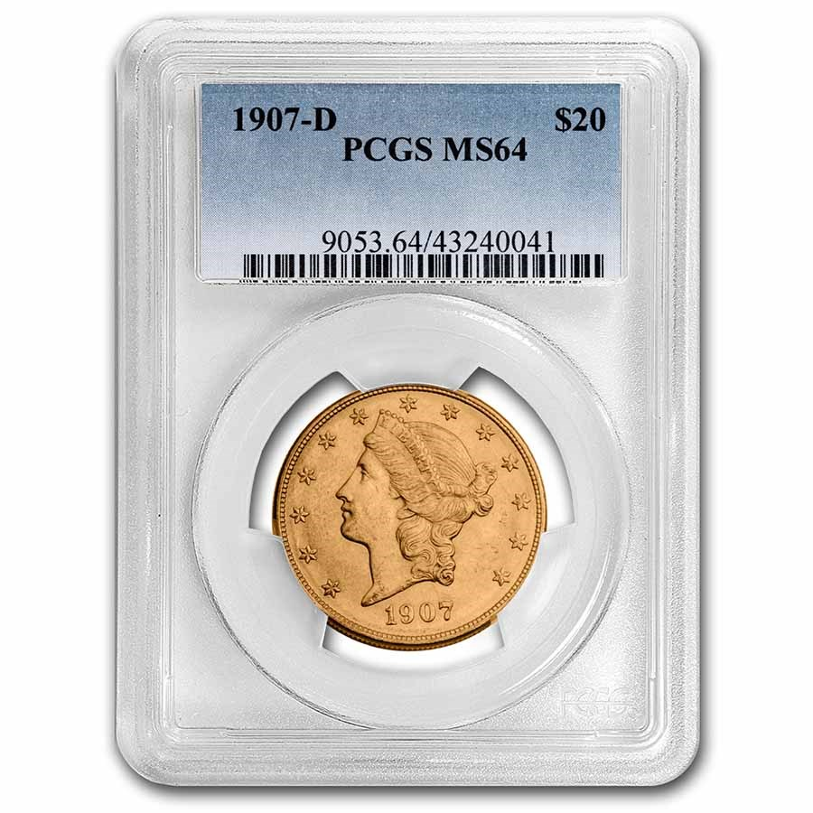 1907-D $20 Liberty Gold Double Eagle MS-64 PCGS
