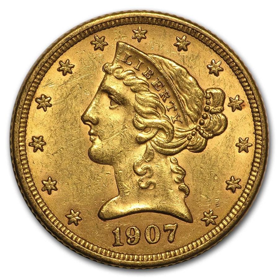 1907-D $5 Liberty Gold Half Eagle AU