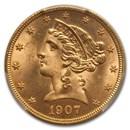 1907-D $5 Liberty Gold Half Eagle MS-65 PCGS