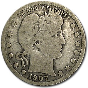 1907-D Barber Quarter Good/VG