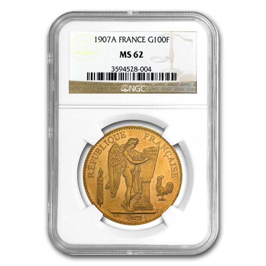 1907 France Gold 100 Francs Angel MS-62 NGC