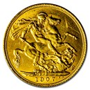 1907 Great Britain Gold Sovereign Edward VII BU