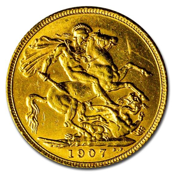 1907 Great Britain Gold Sovereign Edward VII BU