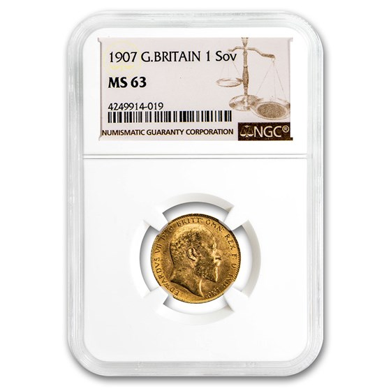 1907 Great Britain Gold Sovereign Edward VII MS-63 NGC