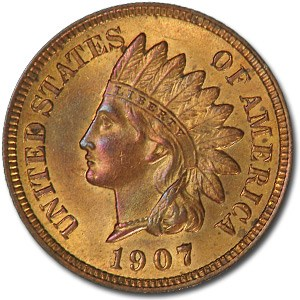 1907 Indian Head Cent BU (Red/Brown)