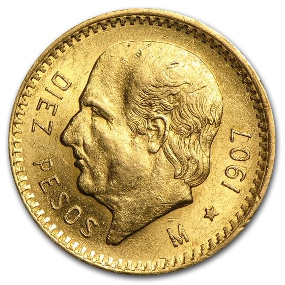 1907 Mexico Gold 10 Pesos AU