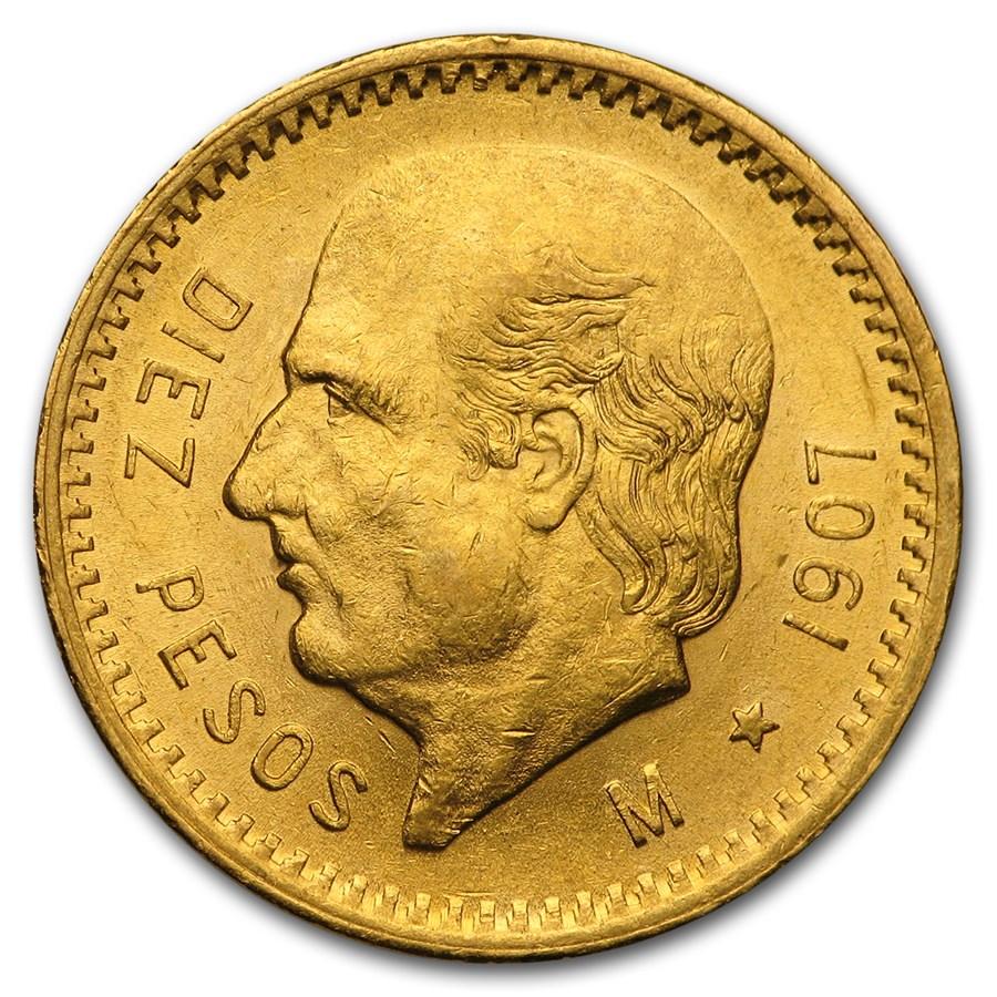 1907 Mexico Gold 10 Pesos BU