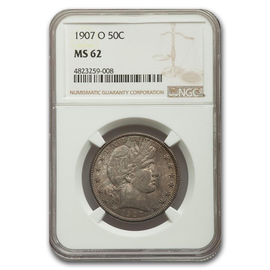 1907-O Barber Half Dollar MS-62 NGC