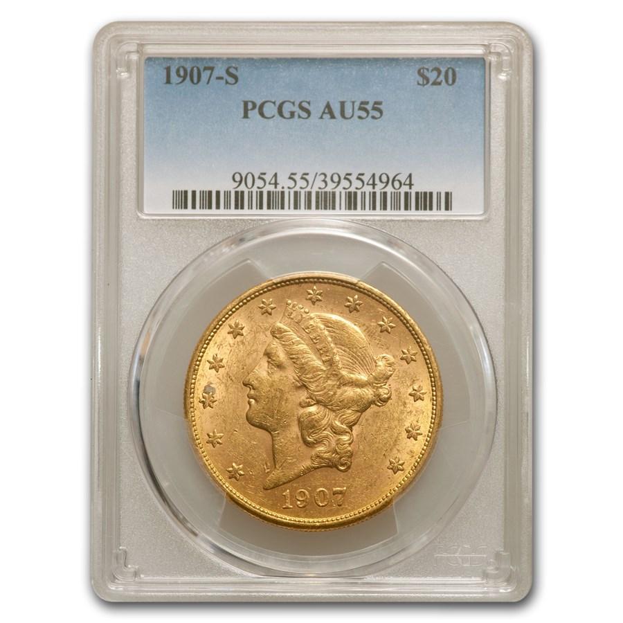 1907-S $20 Liberty Gold Double Eagle AU-55 PCGS